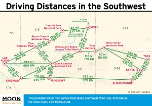 southwest road trip map