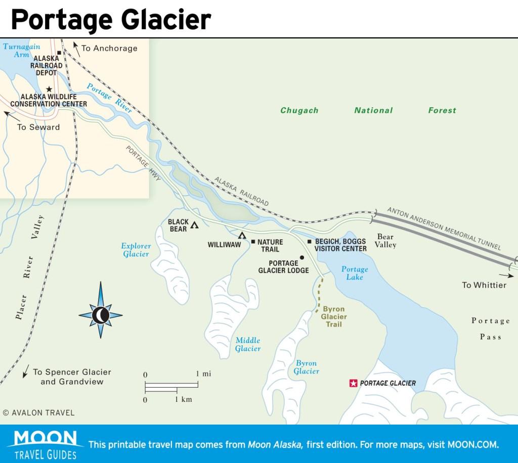 Travel map of Portage Glacier